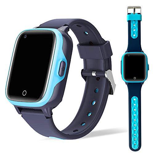 Smartwatch para niños 4G con localizador GPS + WiFi + Lbs, Reloj Inteligente con Videollamada, Cámara y Llamadas Simples integrada (Azul)