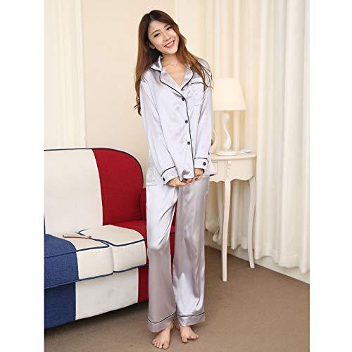 Pijamas Mujer Camisón Conjunto De Pijamas De Otoño para Mujer, Ropa De Dormir, Camisa De Manga Larga, Tops, Pantalones, Ropa De Casa De Seda, Pijama De Camisón Sólido Sexi para Mujer, M Plata
