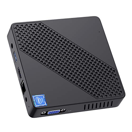 Mini PC Fanless Intel Celeron N4000 (hasta 2.6GHz) 4GB LPDDR4/64GB eMMC Mini Desktop Computer Windows 10 HDMI2.0 VGA UHD Graphics 600 2.4/5.8G Dual WiFi/1000Mbps LAN BT5.0 3×USB3.0, Auto Power On