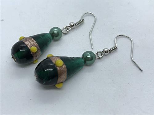 Hand blown green glass bead earrings by Susan Craker