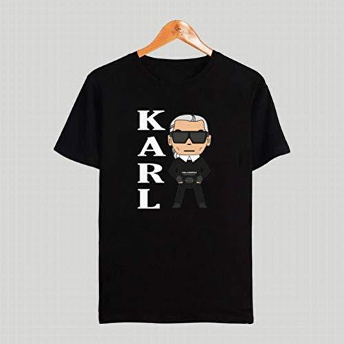 M-T Herren Rundhals Kurzarm T-Shirt Baumwolle Casual T-Shirt Sommer Herren Kurzarm Shirt Modedruck, Schwarzer, XL