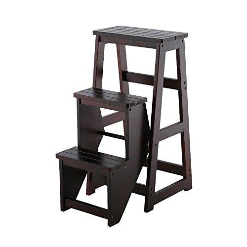 ZRXian-Tabourets Tabouret d'échelle en Bois Solide de Mode Tabouret Multifonctionnel changeant des Chaussures Se Pliant des chaises avec 3 étapes (Couleur: Noir)