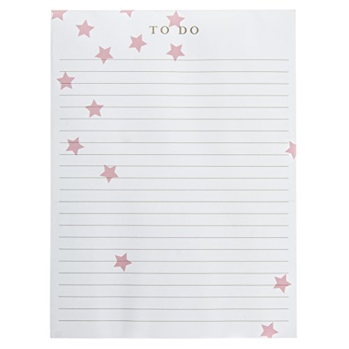 """Graphique Bloco de notas grande brilhante brilhante, bloco de notas """"To Do"""" com design de estrela rosa caindo e 150 folhas destacáveis, perfeito para balcões de cozinha, mesas, mesas e muito mais, 15 x 20 cm"""