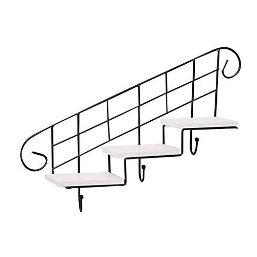 ZYING Función Multi Moderno Pared del Hierro labrado montado en Rack sin Taladro Escaleras Colgar de la Pared Soporte de Flor Habitación Sala Rack