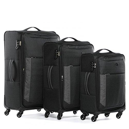 FERGÉ Kofferset Weichschale 3-teilig erweiterbar Saint-Tropez Trolley-Set - Handgepäck 55 cm, L und XL 3er Set Stoffkoffer Roll-Koffer 4 Rollen Stretch-Flex schwarz