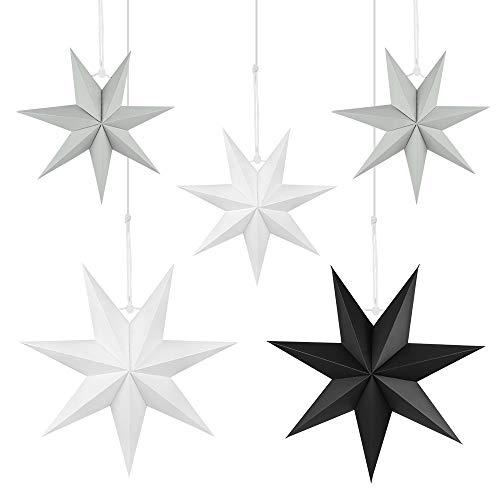 Wishstar Estrellas Navidad Papel, 5 Pcs Estrella Papel, Estrella de Techo Pantalla Colgante Adorno para Navidad, Boda, Año Nuevo, Cumpleaños, Fiesta Decoración del Hogar