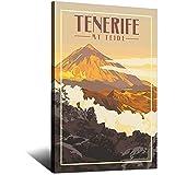 HKHK Tenerife Mt Teide Vintage Parque Nacional de Viajes Carteles Decoración de Pared Cartel Arte Pintura Lienzo Decorativo Póster Impresión Posters 30 × 45 cm