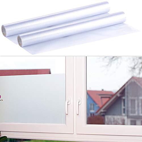 infactory Fenster Sichtschutzfolie: 2er-Set Milchglasfolie, statisch haftende Sichtschutz-Folie, 45x200 cm (Glas Folie)