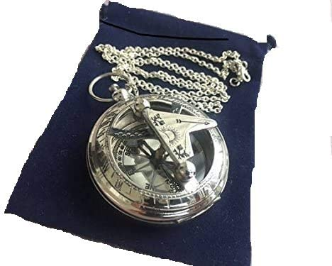 Brass Sundial Compass with Chain Velour Bag Necklace Pendant Vintage Nautical Gift product image