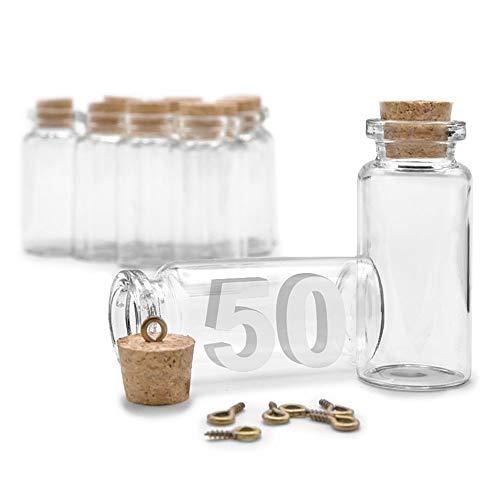 ARTESTAR 50 Mini Botellas de Deseo, Bote de Cristal con Tapón de Corcho, Frasco de Muestra para Mensajes, Decoración de Boda (Pack Mediano, 22 x 50mm)