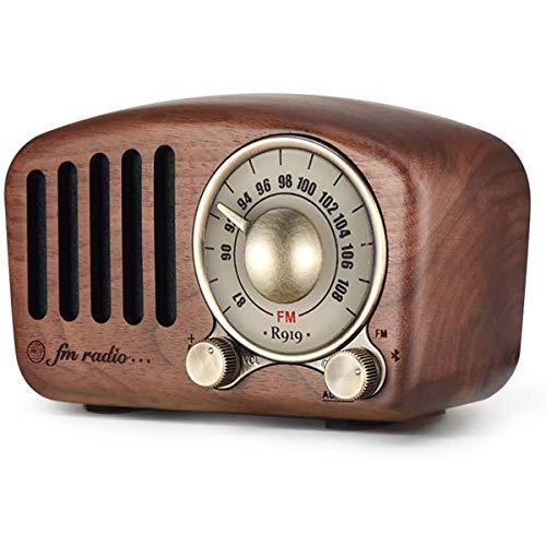 Xytton Radio Portátil Vintage, Altavoz Bluetooth Retro, Radio FM De Madera De Nogal con Estilo Clásico, Bajos Fuertes Mejorados, Bluetooth 4.2, Tarjeta AUX TF