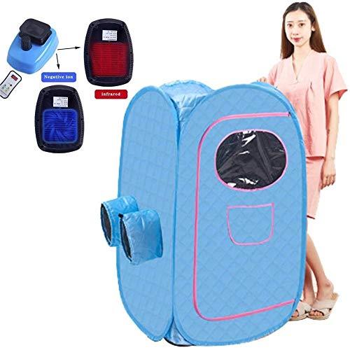 GFSD Dampfsauna Tragbare Box Home Persönliches Spa Indoor Body Slimming Wind und Feuchtigkeit Ausstoßen Fernbedienung Zusammenklappbar (Color : Blue)