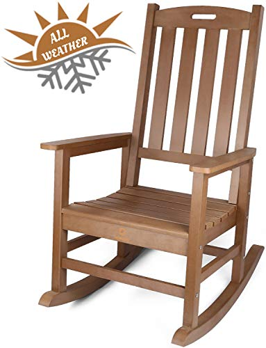 QOMOTOP Outdoor Rocking Chair, Poly Lumber Patio Porch Rocker Chair Supports up to 350 lbs, Brown