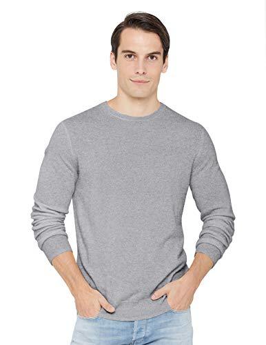 State Cashmere langärmliger Pullover aus 100% reinem Kaschmir für Herren mit Rundhalsausschnitt, Grau Meliert, XL