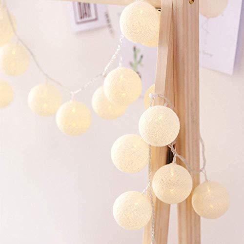 LED Lichterkette mit Kugeln, Morbuy 6CM Baumwollkugeln Mit 20 Bällen 4M USB Deko Licht Festlich Hochzeiten Geburtstag Party Cotton Ball Themen Weihnachten Lichterkette Dekorative (Weiß)