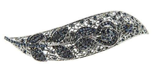 Glamour Girlz - Fermaglio per capelli da donna, stile vintage, in metallo argentato, colore: foglia (blu)