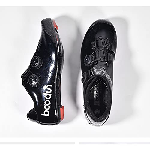 Mens Cycling Shoes, Road Bike Cycling Shoes for Men, Breathable Non-slip Outdoor Cycle Shoes Compatible Delta Cleats Lock Pedal Shoes,Black-42