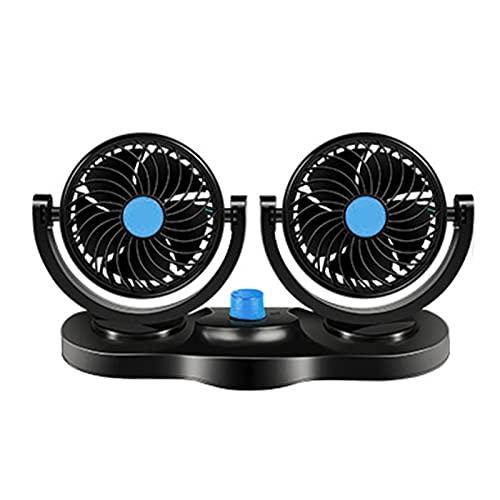 Ocobetom Ventilador para coche, giratorio 360 grados, doble ventilador, adecuado para coches de 12 V/24 V, camiones, SUV
