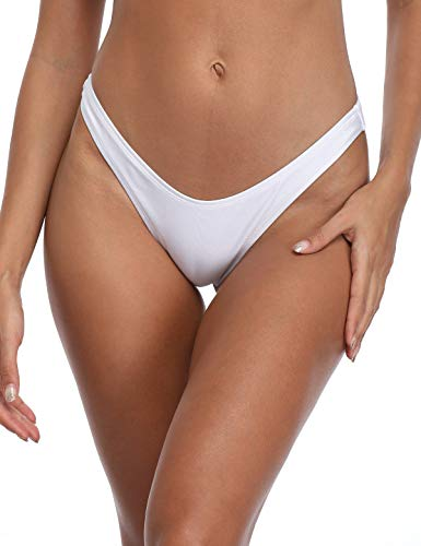 RELLECIGA Women's White High Cut Thong Bikini Bottom Size Medium