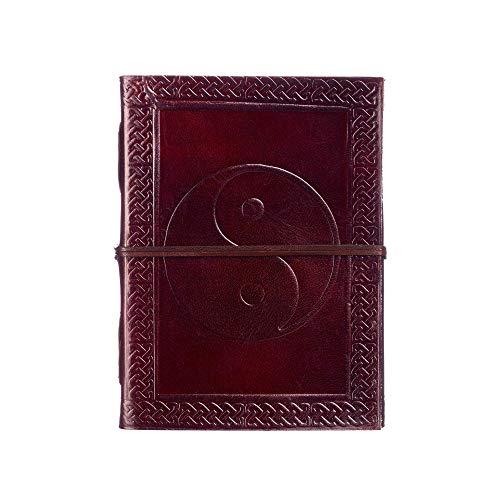 Yin Yang Leder-Tagebuch, 13,5 cm x 18,5 cm, handgefertigt, Fair-Trade-Produkt, umweltfreundliche Leder-gebundene Notizbuch-Alternative für Damen und Herren
