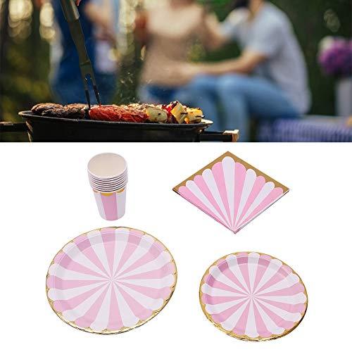 Vajilla, suministros para fiestas, sin lavado para niños, fiestas, bodas, fiestas de cumpleaños(Plum pink)