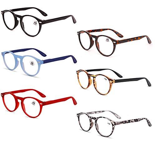 KOOSUFA KOOSUFA Lesebrille Herren Damen Retro Runde Nerdbrille Lesehilfen Sehhilfe Federscharniere Vollrandbrille Anti Müdigkeit Brille mit Stärke 1.0 1.5 2.0 2.5 3.0 3.5 4.0 (6 Farben Set, 0.0)