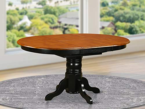 East West Furniture KET-BLK-TP Butterfly Leaf Oval Dining Table - Cherry Table Top and Black Finish Pedestal Legs Solid wood Frame Wood Kitchen Table