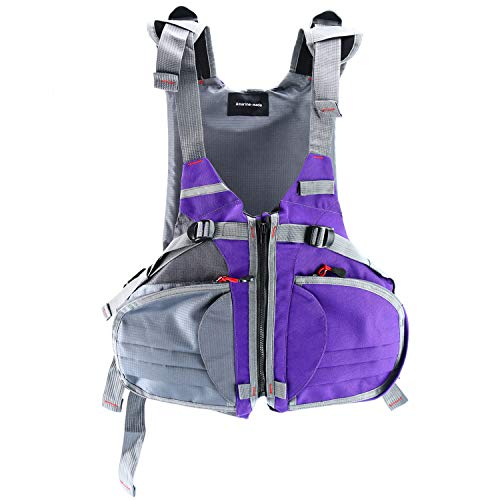 Amarine Made Adjustable Size Life Jacket/Personal Floatation Device for Boat Buoyancy Aid Sailing Kayak Fishing Life Jacket Vest-D90 (Purple/Gray)