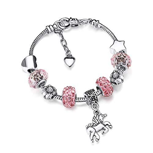 Einhorn Glitzernden Kristall Charme Armband Armreif Einhorn Anhänger Armreif Kristall Bettelarmband Einhorn verstellbares Armband für Mädchen
