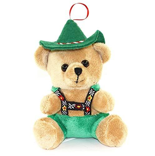 Teddybär Tracht Alois braun/grün mit Lederhose und Hut 15cm Plüschteddybär