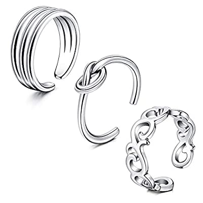 QWALIT Toe Rings for Women Stainless Steel Open Adjustable Fingers Joint Knuckle Tail Pinky Ring Toe Ring Cuff Jewelry Silver