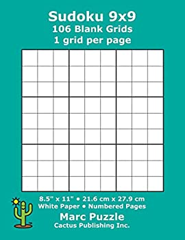 Sudoku 9x9 - 106 Blank Grids  1 grid per page  8.5  x 11   216 x 279 mm  White Paper  Page Numbers  Number Place  Su Doku  Nanpure  9 x 9 Puzzle Template Boards