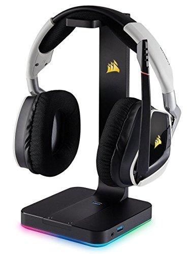 Corsair VOID PRO RGB WIRELESS Casque Gaming (PC, Sans Fil, Dolby 7.1) Blanc + Corsair - CA-9011153-EU - ST100 RGB Support pour Casque d'Ecoute Haut de Gamme avec son Ambiophonique 7.1 - Noir