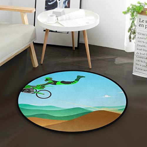 LUPINZ Sprung-Style Motocross Rund Anti-Rutsch-Bereich Teppich Jumping Style Motocross Teppich Fußmatte für Zimmer