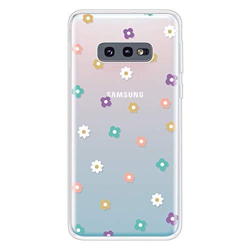 Miagon Klar Hülle für Samsung Galaxy S10e,Kreativ Silikon Case Ultra Schlank Transparente Weich Handyhülle Anti-Kratzer Stoßfest Schutzhülle,Bunt Blume