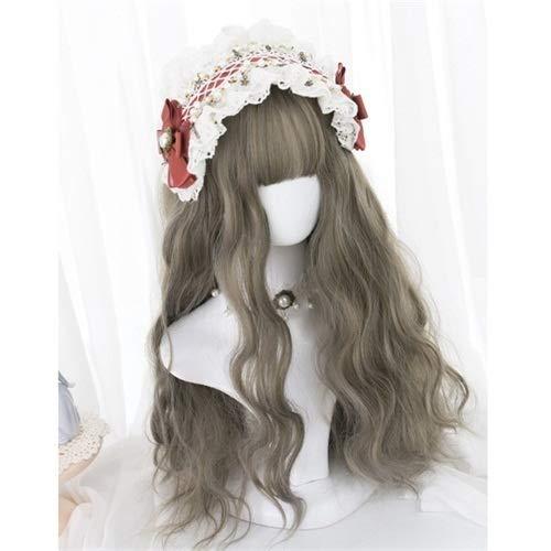 Perruque Femmes Cosplay Lolita Long Femmes Noir Naturel Marron Gris Rose Fringe Parti Curly la perruque de cheveux synthétiques Postiches (Color : Mixed Grey, Stretched Length : 20inches)