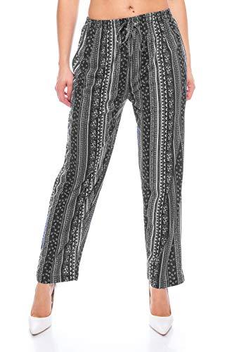 Crazy Age Pantalones largos para mujer, estampados, pantalones de verano, pantalones de yoga, estilo con cintura elástica, pantalones para la compra, pantalones de flores, flores Negro (N.16). 50