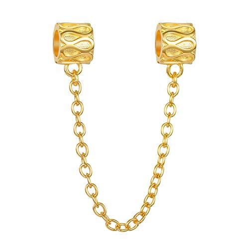 Stopper zum Anklipsen aus 925er Sterlingsilber, vergoldet - für Sicherungskette für Charm-Armbänder im europäischen Stil