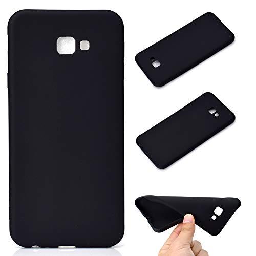 LeviDo Coque Compatible pour Samsung Galaxy J4+/J4 Plus 2018 Étui Silicone Souple Bumper Antichoc TPU Gel Cover Bonbons Couleurs Design Ultra Fine Mince Caoutchouc Etui, Noir