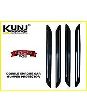 Kunj Autotech Double Chrome Car Bumper Protector Corner Universal Model - Set of 4 Pcs. (For all Cars)