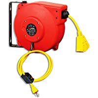 ReelWorks Retractable Cord Reel 12AWG x 40' ft. 3C/SJT Triple Tap with Swivel Bracket
