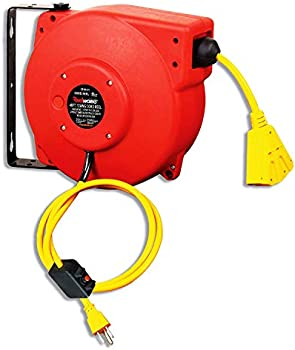 ReelWorks Retractable Cord Reel 12AWG x 40' ft. 3C/SJT Triple Tap
