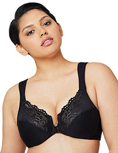 Glamorise Full Figure Plus Size Wonderwire Front Close Bra #1245 Black