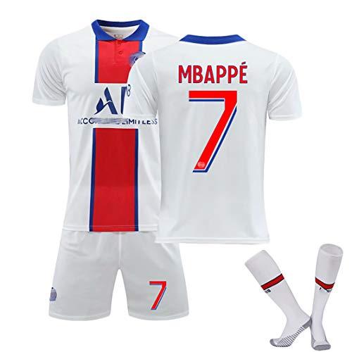 ZYWCXM Camiseta de fútbol de fútbol de fútbol para Adultos/niños, París Hogar/Away White No.7 Mbappé No.10 Neymar Jersey, Camisetas de fútbol de Manga Corta conmemorati NO.7-24