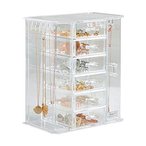 X&M Schmuckveranstalter mit 6 Lagerschubladen Klärer transparenter Schmuck-Schmuckkasten Sehenswürdigkeit Halskette und Ohrringhalter - Geschenke für sie