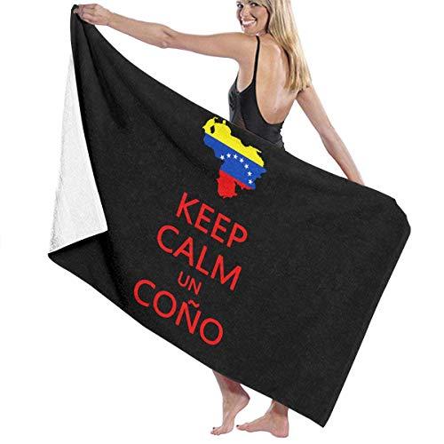 ASE Toalla de baño Unisex Keep Calm Un Cono SOS Venezuela Toalla de Viaje con Estampado de Microfibra Suave para Adultos Toalla de Viaje 32x52 Pulgadas