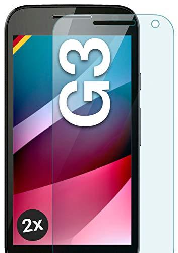 moex Panzerglas kompatibel mit Motorola Moto G3 - Schutzfolie aus Glas, bruchsichere Bildschirmschutz Folie, Crystal Clear Panzerglasfolie, 2X Stück