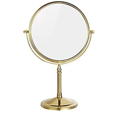 DOWRY 8-Inch Tabletop Swivel Vanity Magnifying Mirror 10x Magnification,Gold Finish, Double Sided 2202J(10x)