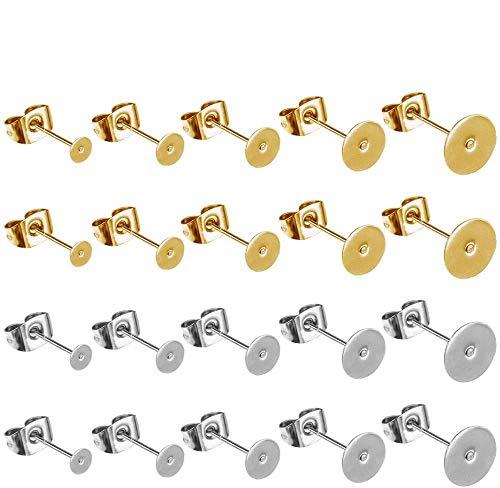 sopplea 100 Pezzi 5 Dimensioni Poste per Orecchini in Acciaio Inossidabile con pastiglie Piatte e orecchino a Farfalla 100 Pezzi (Argento e Oro)