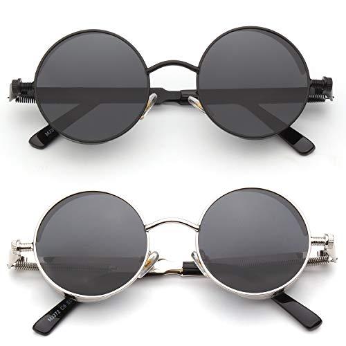 CGID Retro Sonnenbrille im Steampunk Stil Runde Metallrahmen Polarisiert Brille Herren Damen, CAT3, CE, E72,2 Packung